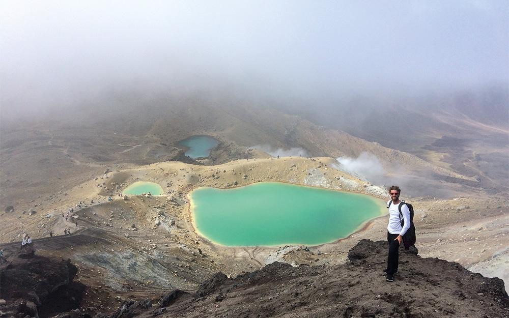 thomas giddens at emerald lakes tongariro alpine crossing new zealand