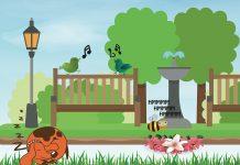 cartoon park scene with birds signing