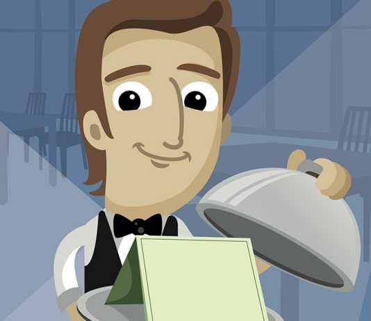 waiter revealing cloche