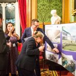 Carl Harding from architects Stride Treglown presents the designs for the new Deaf Academy in Exmouth to guests at the House of Lords.